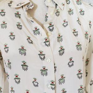 Uniqlo Tops - Uniglo Heart button down silk shirt